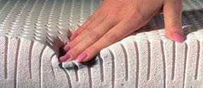 detail van een latex matras